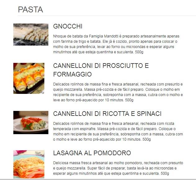 Bistrô italiano delivery Famiglia Mandotti