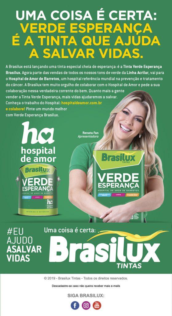 Renata Fan apoia campanha Verde Esperança Hospital de Amor