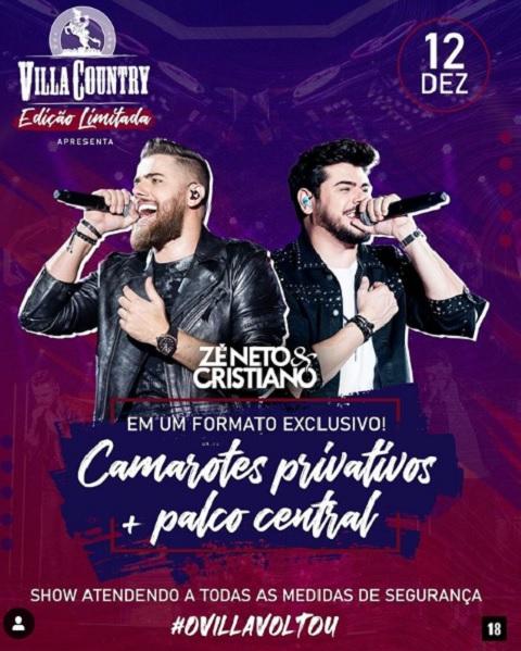 Zé Neto e Cristiano anunciam 1.º show Villa Country presencial