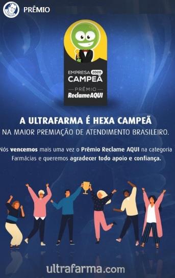 Ultrafarma vence o Prêmio Reclame Aqui 2020