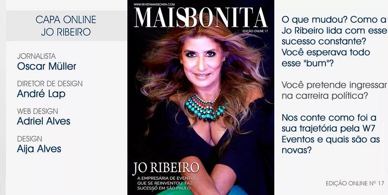 A Jo Ribeiro Jornalista e Empresária é a capa da Revista MaisBonita edição  on-line 17