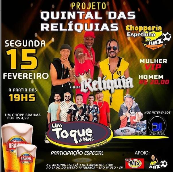 Grupo Um Toque a Mais se apresenta Projeto Quintal das Relíquias dia 15/02