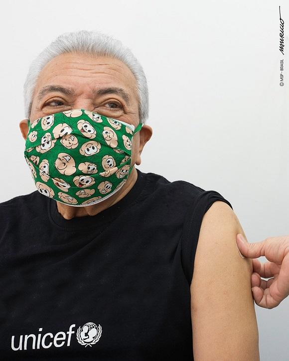 Mauricio de Sousa toma a segunda dose da vacina contra a #Covid-19