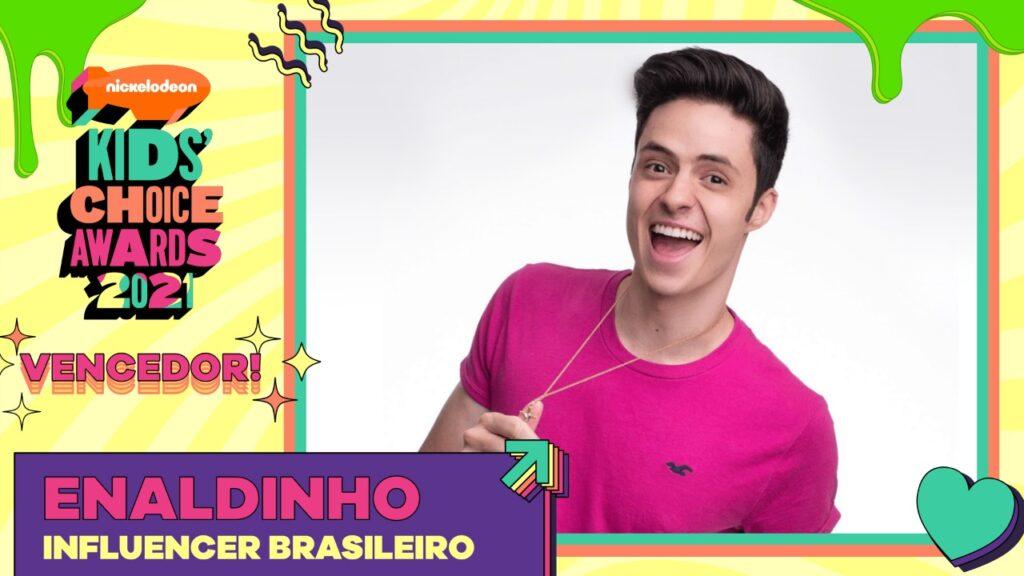 """Enaldinho é o vencedor """"Influencer Brasileiro"""" do Kids' Choice Awards 2021"""