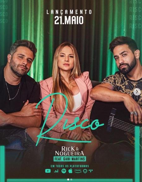 """Gabi Martins participa de videoclipe com Rick & Nogueira Lançamento do single """"Risco"""" hoje (21)"""